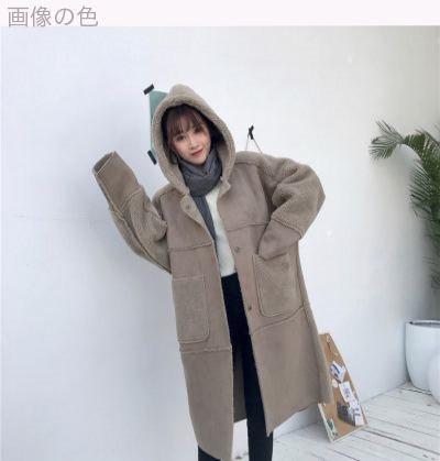 [55555SHOP]冬/新しいデザイン/韓国風/子羊ウール/アウターウェア/女/ルース/手厚い/太もも/スエード/帽子付き/中長デザイン/コットンコート