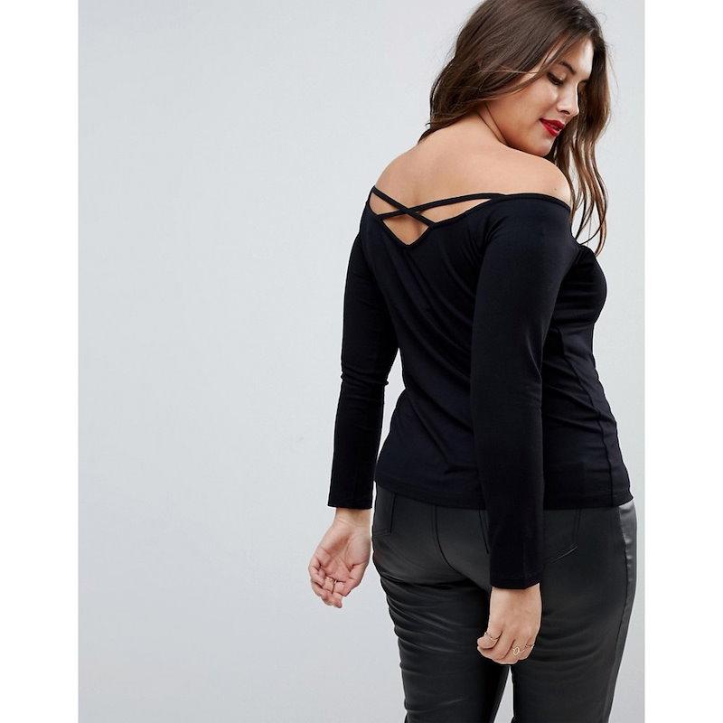 エイソス レディース トップス オフショルダー【ASOS CURVE Off Shoulder Top with Caging Detail and Long Sleeves】Black