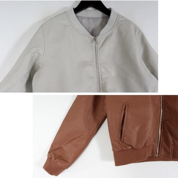 ジャケット ブルゾン リブブルゾン アウター 合成皮革 合皮 シンプル レディース アイボリー ライトグレー キャメル ブラック