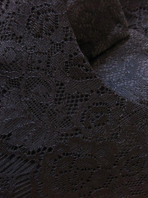 【フォーマル/パーティ/結婚式】上質感漂う柔らかな総レース素材のチュニックワンピース 黒 LL 裏地付