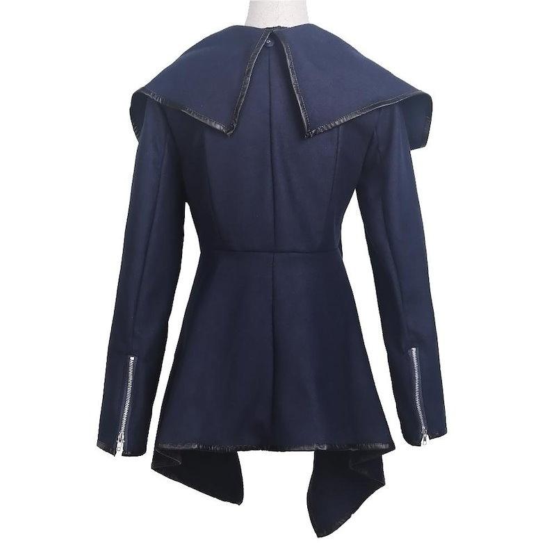 秋の冬のコートの女性のカジュアルウールPUレザーパッチワークターンダウン襟サイズLカラーブラックをブレンド