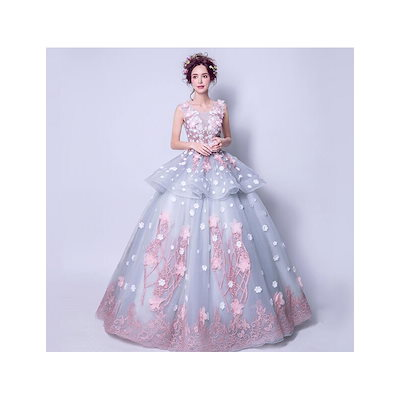 カラードレス ウェディングドレス ロングドレス演奏会 発表会 パーティードレス 成人式   ノースリーブ 花びら ふわふわ