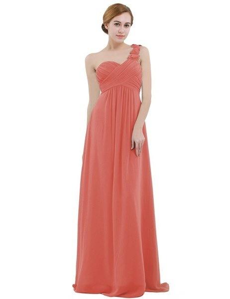 エレガントな女性のシフォンワンショルダープリーツブライドメイドドレス結婚式の花ロングイブニングウェディングドレス