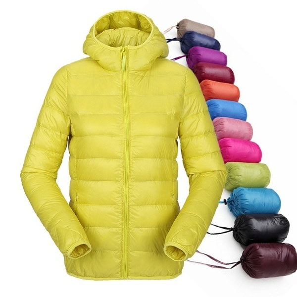 2017 Women Ultra Light Down Jacket Hooded Winter Duck Down Jackets Women Slim Long Sleeve Parka Zipp
