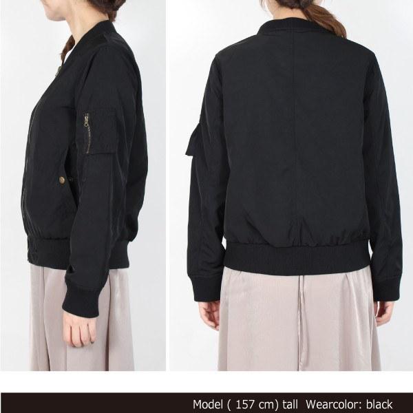ジャケット ブルゾン MA-1 MA1 リブブルゾン 合成皮革 合皮 シンプル レディース ピンク ベージュ カーキ ブルー ブラック