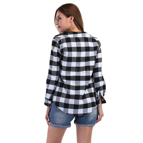 女性の新しいファッションのチェック柄ブラウスTシャツカジュアルロングスリーブスリムフィットジャンパートップス