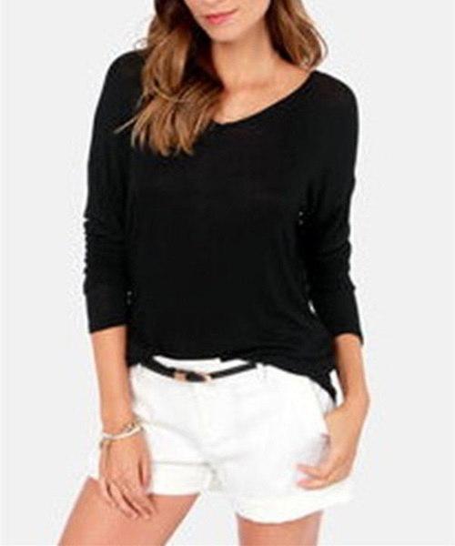 2015ファッション女性トップブルサスフェミニーズボウバックレスロングスリーブレディースシャツプラスサイズ