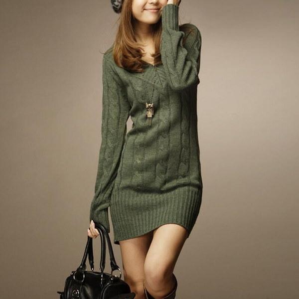 秋冬の女性新しいファッション長袖セクシーなスリムVネックセータードレスニット