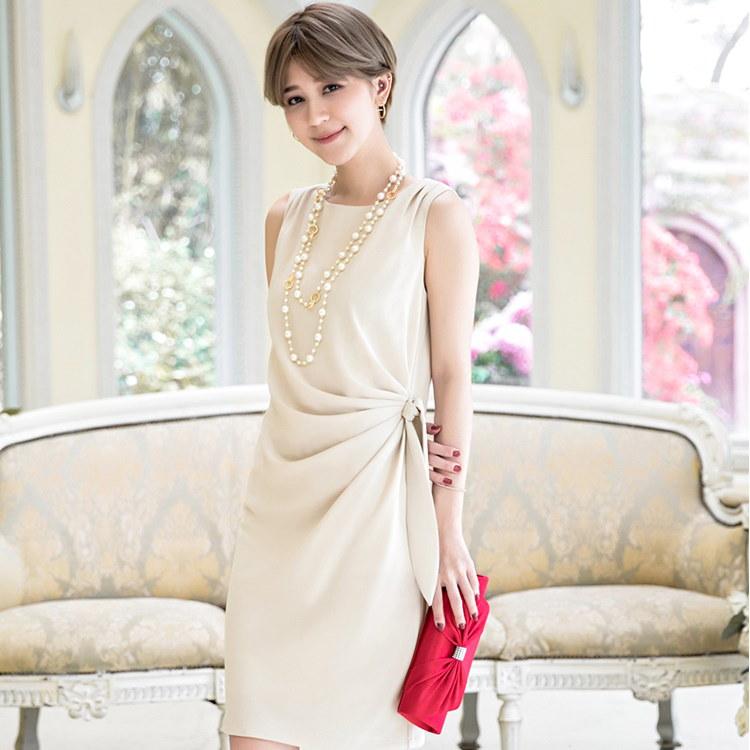 パーティードレス 結婚式 ワンピース シンプル キレイめ ドレス お呼ばれ 大きいサイズ ホワイト ブラック ネイビー アプリコット レッド マスタード ウエストリボン Iライン ノースリーブ 体型カ
