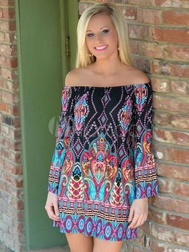 Multicolor Shift Dress Print Off-The-Shoulder Cotton Flax Dress