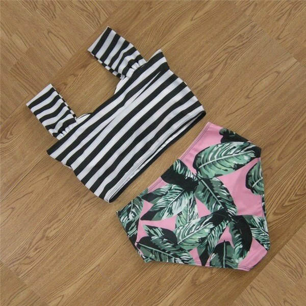 2017 Bikinis Women Biquinis Striped Top Floral Bottom Swimsuit High Waist Bikini Brazilian Bikini Bi