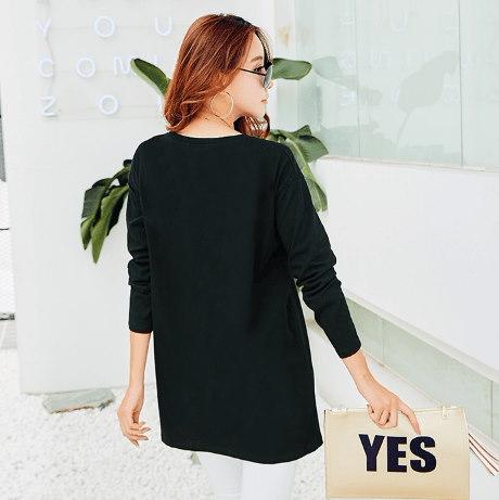 【即日発送】ロング長Tシャツ ロゴ入り ゆったりサイズ ブラック ブルー レッド 3カラー /ふわふわり
