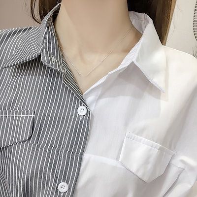 シャツ 春物 バイカラー ブラウス ストライプ 無地 シンプル りぼん オフィス 女子会 セクシー 着まわし 可愛い
