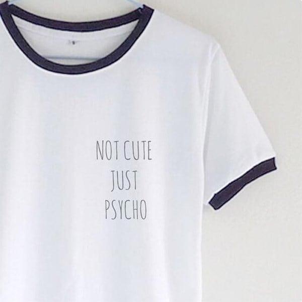 女性はかわいい涼しいちょうどサイコTumblrグランジスタイルのTシャツ女性のティーファッショントップストリートヒッピーPun