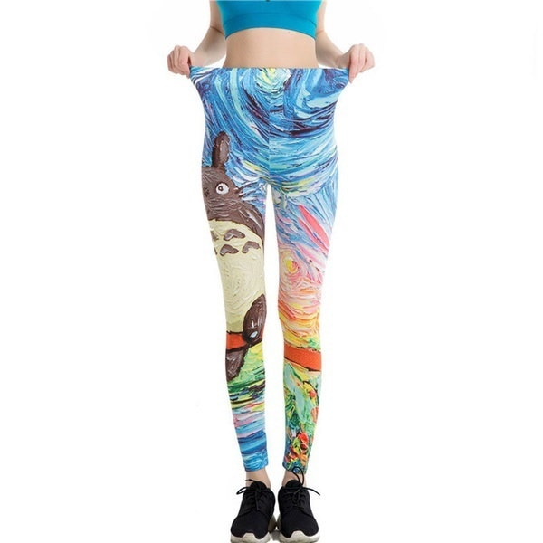 Women Totoro Sport Pants Skinny Elastic Waist Leggings Stretch Fit Trousers (Color: Multicolor)