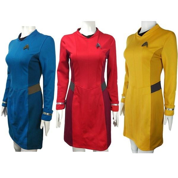 コスプレスター・トレックNyota Uhura Red Dressを超えてキャロル・マーカス・ブルーユニフォームイエロー