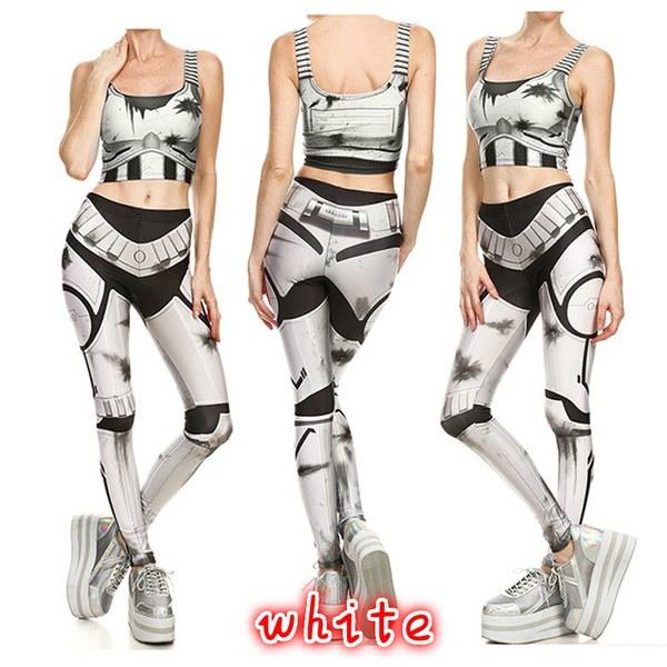 レトロメッシュワイヤー戦闘機の鎧スリムレギンス女性の3Dデジタルプリントリベットレギンスのワークアウトムージャーパンツ