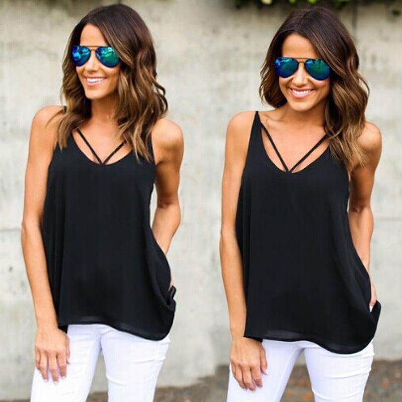 ファッション女性の夏のベストトップノースリーブシャツブラウスカジュアルタンクトップTシャツ