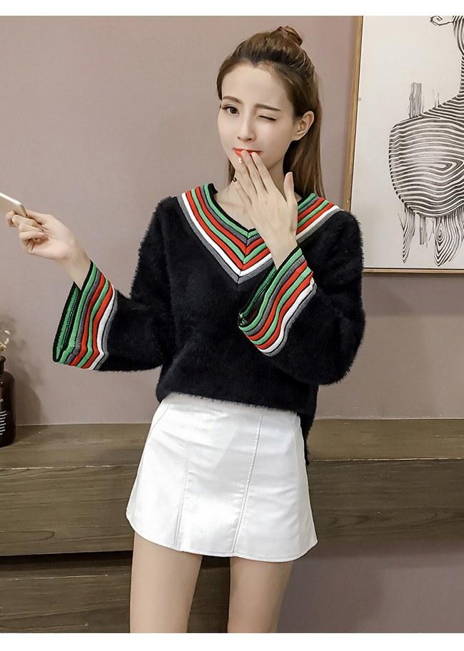 レディースファッション 女性 トップス プルオーバー ニット素材 セーター Vネック インナー カットソー 配色ニット 大きいサイズ モコモコ ふわふわ 可愛い 女子 あったか 秋冬新作