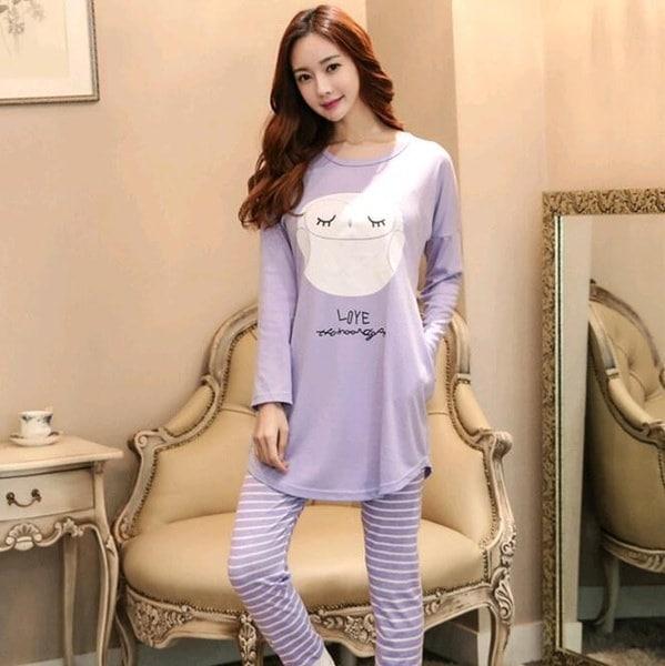 ファッション女性の寝間着パジャマセット女性レディースロングスリーブコットンかわいいナイトガウン