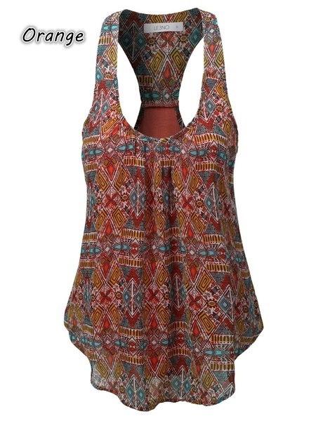 女性のファッションスクープネックノースリーブプリントカジュアルルースシフォントップS-5XL ZH5149