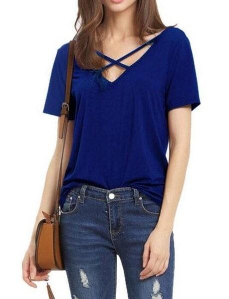 ファッション女性ルーズプルオーバーTシャツ半袖Vネックコットントップスブラウスプラスサイズ
