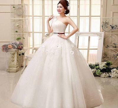 シングル肩 ウェディングドレス 花嫁 礼服 刺繍 花飾り プリンセス系 バックレス XCQD77