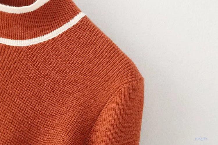 全4COLOR リボンワイド幅の袖 秋冬 配色ニット カラー 着やせ ルーズニット 大人 かわいい ブラック、オレンジ、グレー、カーキ