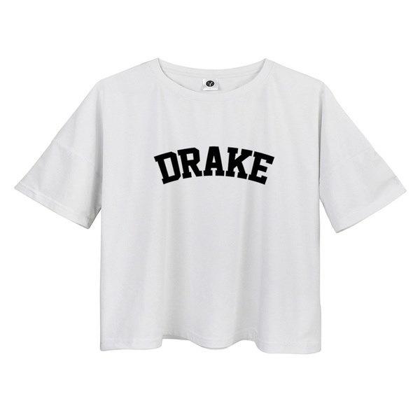 DRAKEサマークロップトップスヒップスターレディースオーカーカジュアルTシャツオーバーサイズコットンルーズTシャツ