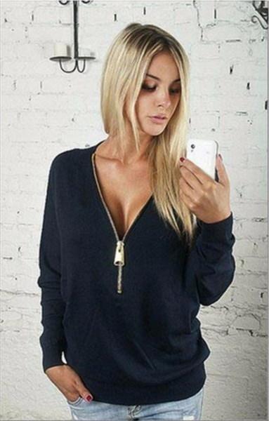 ファッション女性ジッパーTシャツ長袖セクシーなディープVネックブラウスプルオーバーシャツプラスサイズS-5XL