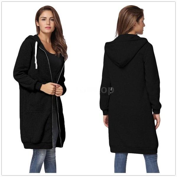女性のファッションパーカーロングフード付きスエットシャツコートカジュアルポケットジッパーソリッドアウターウェアジャケットソル