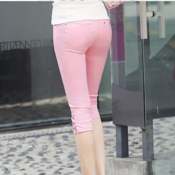 新しい女性の夏のカジュアルキャンディカラースキニースリムペンシルパンツズボンカプリス