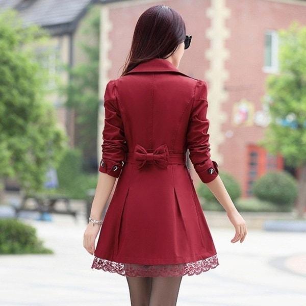 女性ファッション春/秋スリムフィットダブルブレストジャケットトレンチ