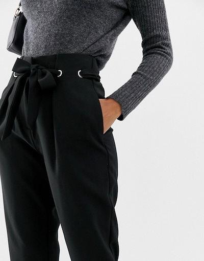 ワイエーエス レディース カジュアルパンツ ボトムス Y.A.S high waisted eyelet detail belted pants