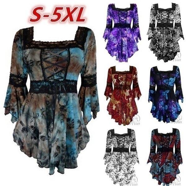 春秋ファッション女性のサイドカラー長袖レース不規則な裾のコラージュフラワープリントカジュ