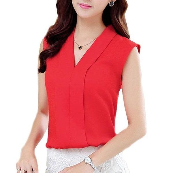 Women s Colourful V Neck Summer Chiffon Blouses Shirt