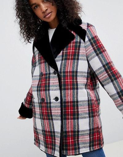 エイソス レディース ジャケット・ブルゾン アウター ASOS DESIGN reversible faux fur and check bonded jacket