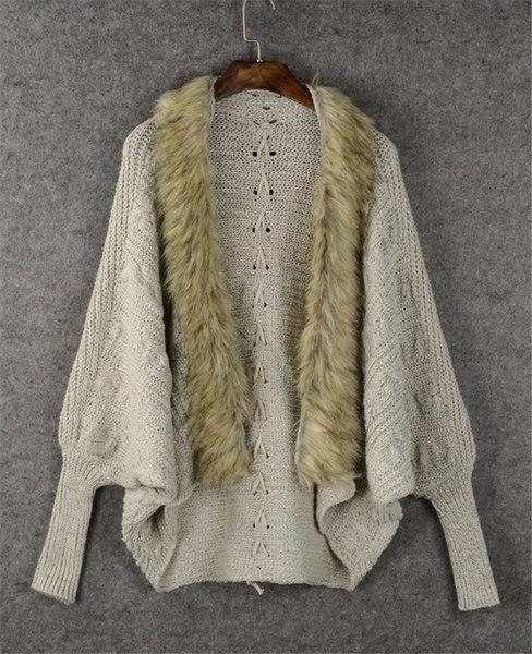 ヨーロッパの駅女性のカーディガンソリッドセーターファーカラーBatwingスリーブルーズカジュアル厚い暖かいファッション
