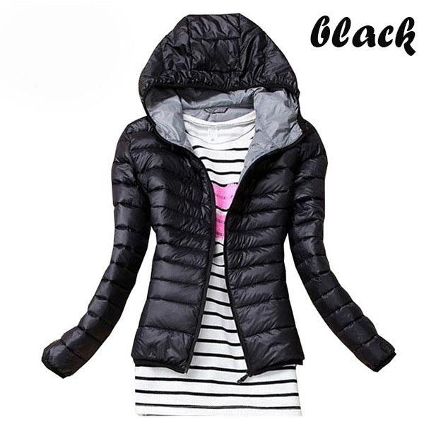 薄型スリムコットンジャケット冬の女性スリムショートジャケットダウンジャケットアウターウェアウォームジャケットレディーダウ