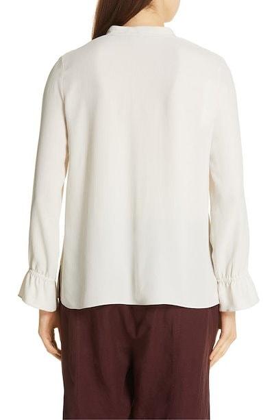 エイリーンフィッシャー レディース シャツ トップス Eileen Fisher Flutter Cuff Silk Shirt (Regular & Petite)