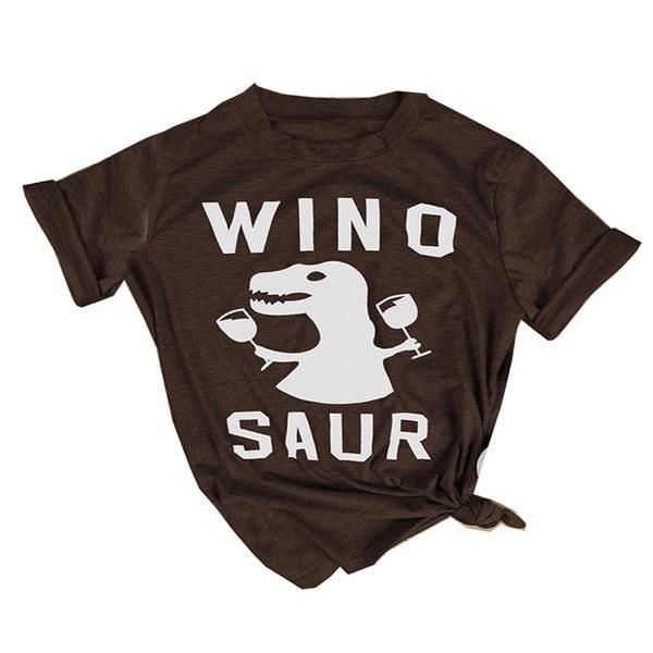 レディースカジュアルトップスTee Wino Saur Lettersプリント半袖TシャツLoose Plus S-3XLブラウス
