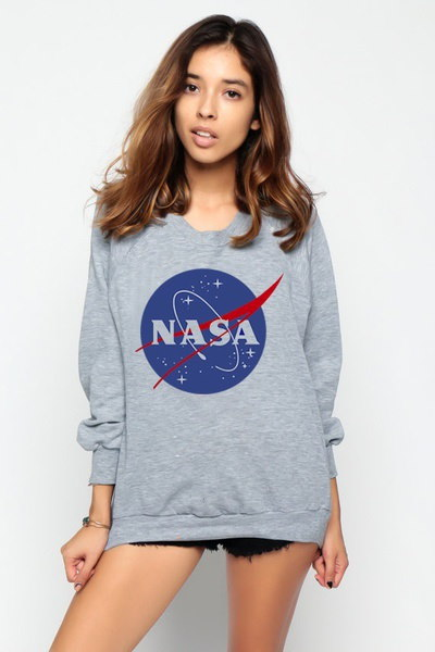 女性NASAプリント長袖スウェットレディースグレーフーディープルオーバー