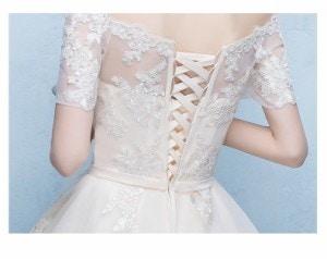 ウエディングドレス 前短後長ドレス エレガント パーティドレス イブニングドレス ブライズメイドドレス 司会者 結婚式 二次会 卒業式 刺繍半袖ドレス 結婚式ドレス お呼ばれ フォーマル ワンピース