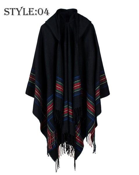 Poncho Cape Top Tassel Fringed Cardigan Print Sweater Scarf Coat Blanket Poncho