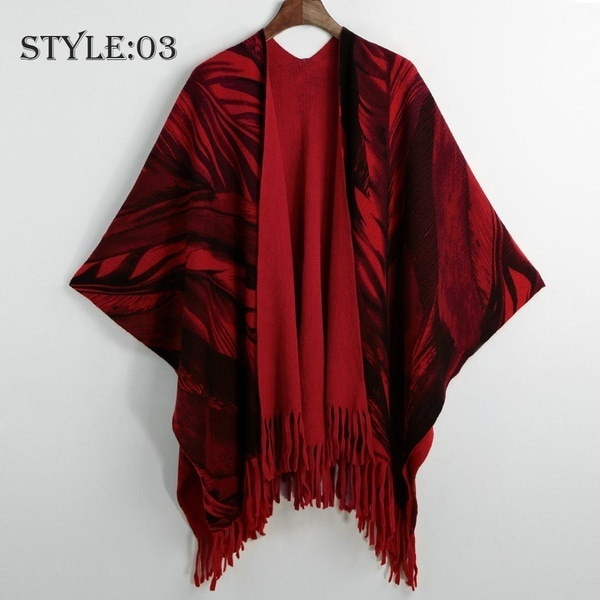 Poncho Cape Top Tassel Fringed Cardigan Print Sweater Scarf Coat Blanket Poncho