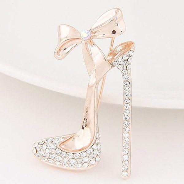人気のある18kゴールドフィルドオーストリアのクリスタルハイヒールの靴ブローチピンジュエリーギフト女性用