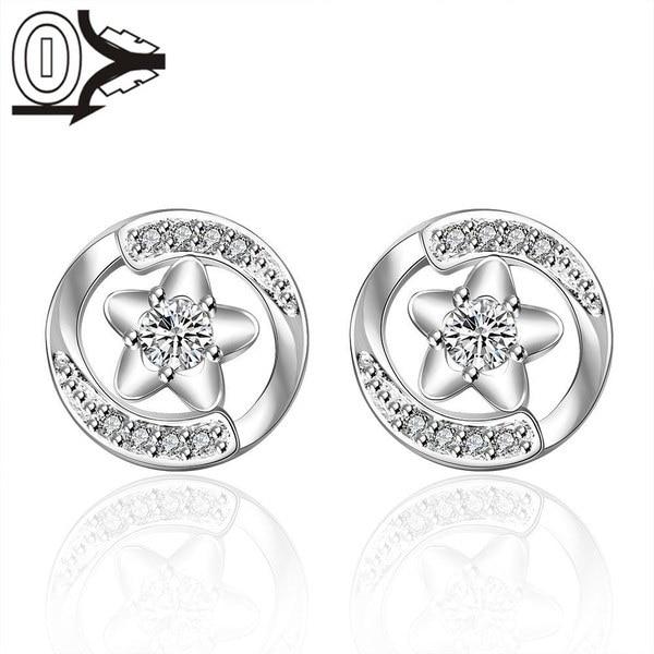卸売シルバーメッキイヤリング、ウェディングジュエリーアクセサリー、ファッションスターフィッシュin Cirlce Stone Silver