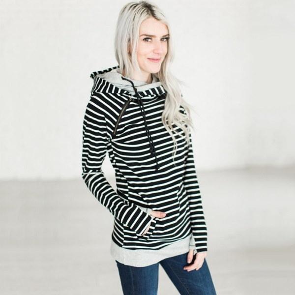 Women Autumn New Heaps Collar Hoodies Draw Cord Pullover