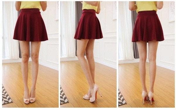 ファッションレディーススカート黒とダークレッド2色ミニスカート