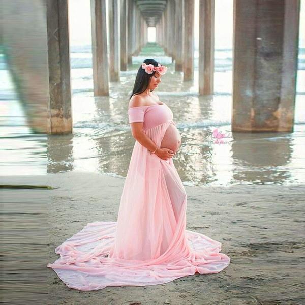 女性の妊娠中のセクシーな写真の小道具は、ショルダーのドレスS / M / L / XLをオフにする!